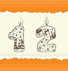 Collection of Birthday Candles 1 and 2 vector image