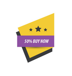 Label buy now and 3 star purple yellow black vector
