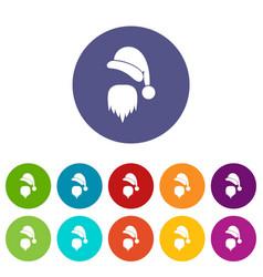 Santa claus hat and beard set icons vector