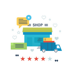 online shopping reviews and ratings work of store vector image