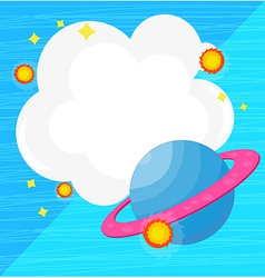 An empty cloud template with a planet vector