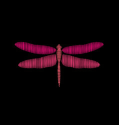 Dragonfly embroidery on a black background vector