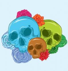 3 skulls full of roses vector image