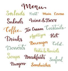 menu lettering set desserts starters drinks vector image