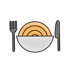 Dish with delicious spaghetti isolated icon vector