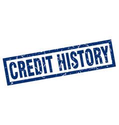 Square grunge blue credit history stamp vector