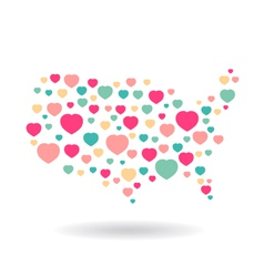 Usa pattern hearts map vector