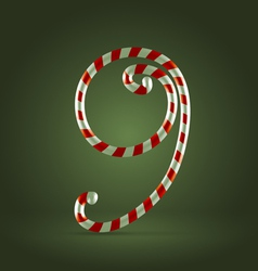 Candy cane abc 9 vector