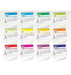 2014 desk calendar set vector