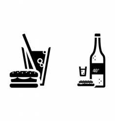 Fast food and vodka signs vector