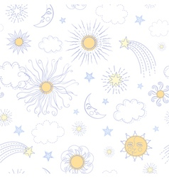 Seamless pattern with doodle sun vector