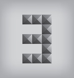 3 number three alphabet geometric icon and sign vector