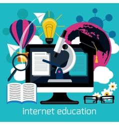 Distance education with internet services concept vector