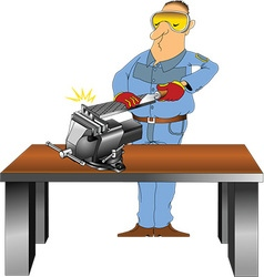 Man working with file vector