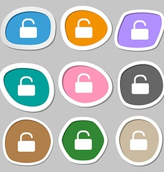 Open padlock icon symbols multicolored paper vector