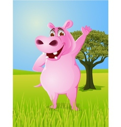 Rhino cartoon waving hand vector