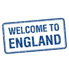 Welcome to england blue grunge square stamp vector