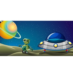 A robot beside a flying saucer vector image