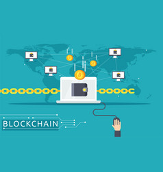 blockchain in flat style vector image vector image
