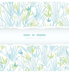 Blue bamboo branches torn frame seamless pattern vector image