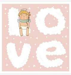 Card for valentine day with cute cupids in vector image vector image