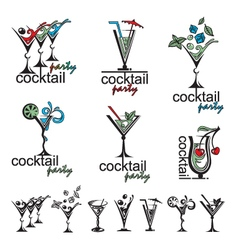 cocktail glass collection vector image vector image
