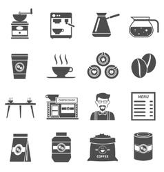 Coffee shop black icons set vector