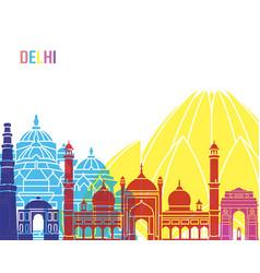 delhi skyline pop vector image vector image