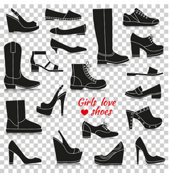 different women shoes silhouette icons with vector image