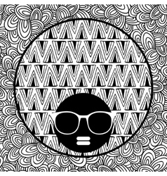 Doodle pattern with black skin woman in sunglasses vector