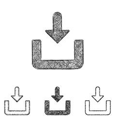 Download icon set - sketch line art vector