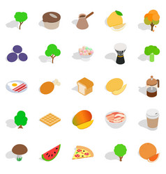 drink coffee icons set isometric style vector image