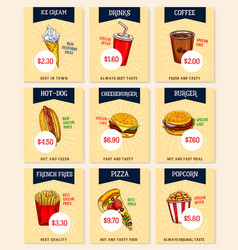 Fast food price cards set for restaurant vector