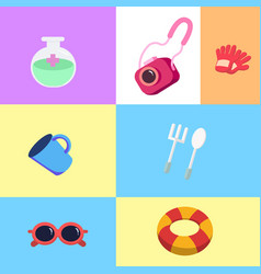 Flat iconstrip and travel with colorful layout vector