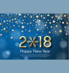 Golden new year 2018 concept on blue blurry vector