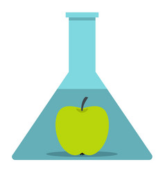 Green apple in glass test flask icon isolated vector