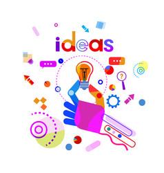 hand holding light bulb business idea startup vector image