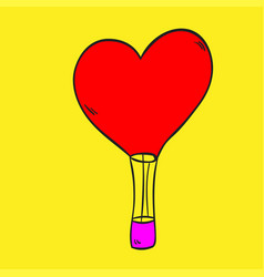 Hot air balloon love on a yellow background vector