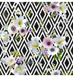 Lily and anemone flowers geometric background vector