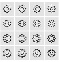 line gear icon set vector image vector image