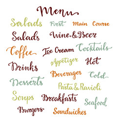 Menu lettering set desserts starters drinks vector