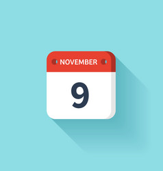 November 9 Isometric Calendar Icon With Shadow vector image vector image
