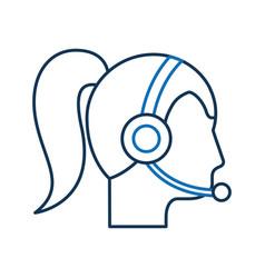operator woman profile customer service wearing vector image
