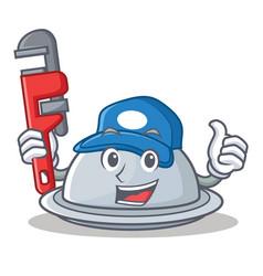 Plumber tray character cartoon style vector
