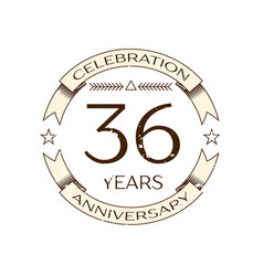 realistic thirty six years anniversary celebration vector image