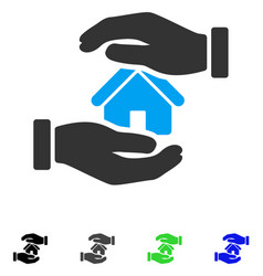 Realty insurance hands flat icon vector