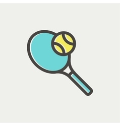 Tennis racket and ball thin line icon vector image vector image