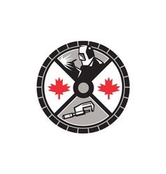 Welder caliper maple leaf circle retro vector