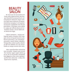 Woman hairdresser beauty salon poster flat design vector