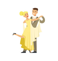 Young ballroom dancers in formal costumes colorful vector